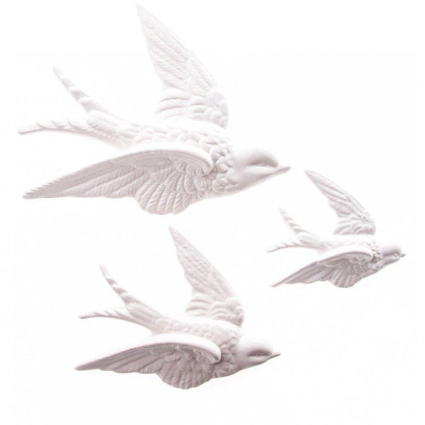 Swallow Wall Decorations White Set Of 3