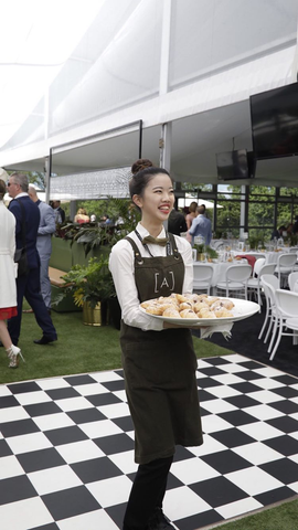 Urbanbar Design Hospitality Apron on Atlantic Group staff Melbourne Cup 2018