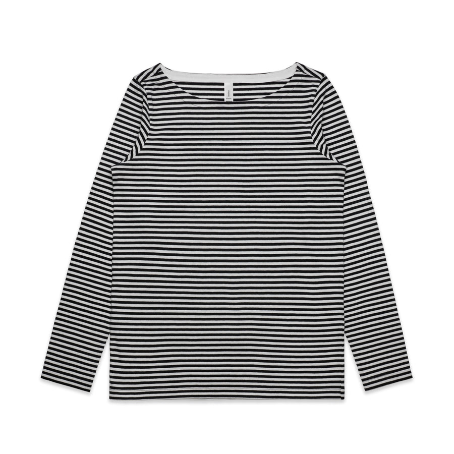 Byron Long Sleeve Stripe Boat Neck Womens -Black/Nat and Mid Blue/Nat