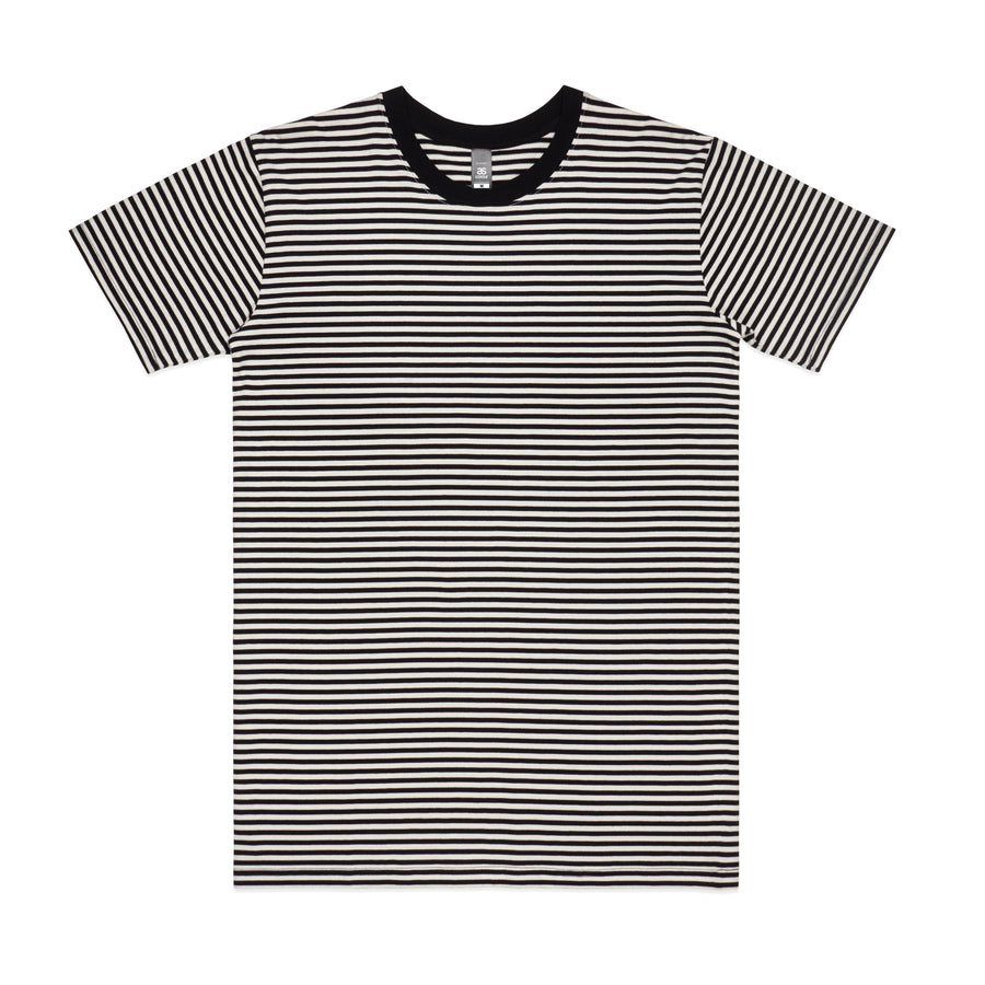 Byron Men's Short Sleeve Stripe TShirt -Black/Nat and Mid Blue/Nat