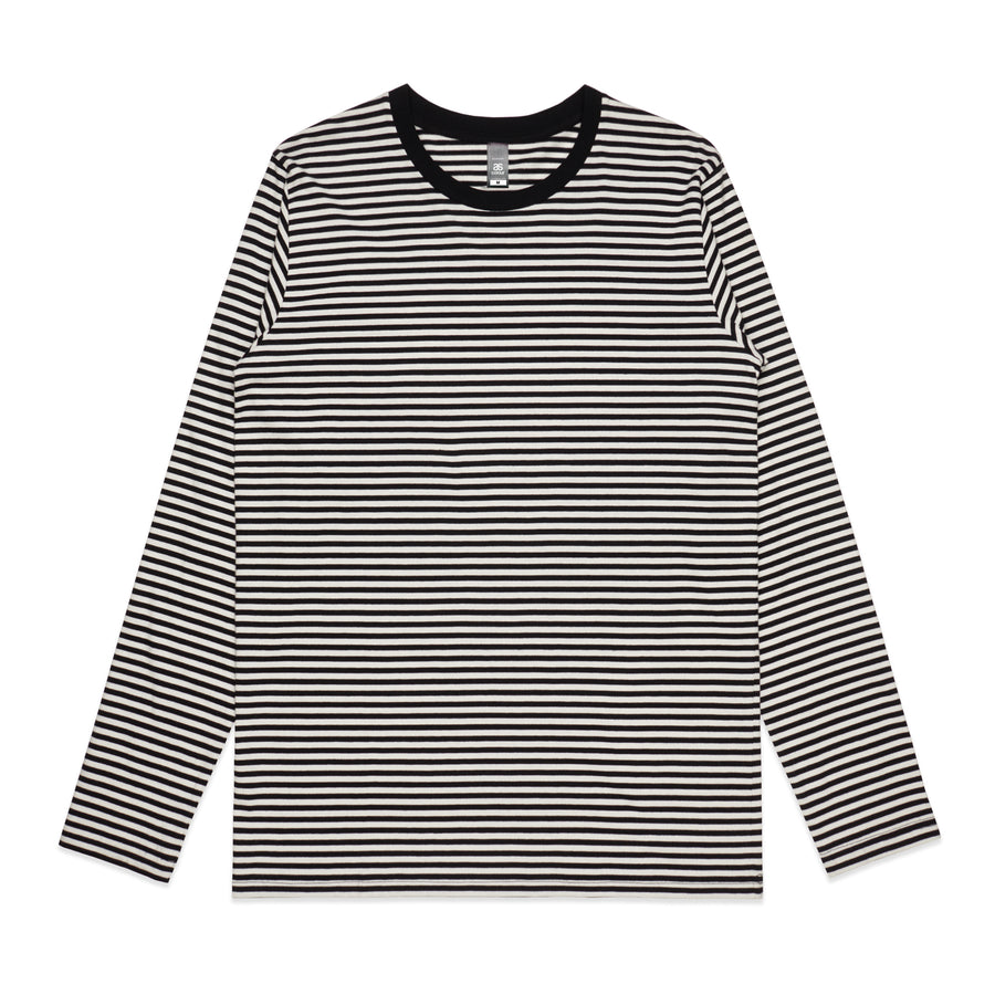 Byron Men's Long Sleeve Stripe TShirt -Black/Nat and Mid Blue/Nat