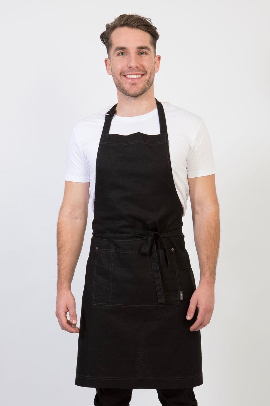 CLEMENTINE BIB Apron with metal trims - Black Linen