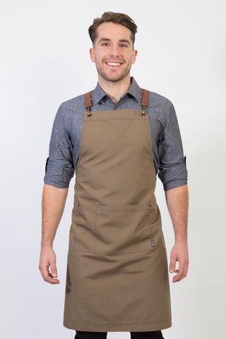 ATLANTA Metal Hook PU LEATHER Caramel/Tan Strap Apron