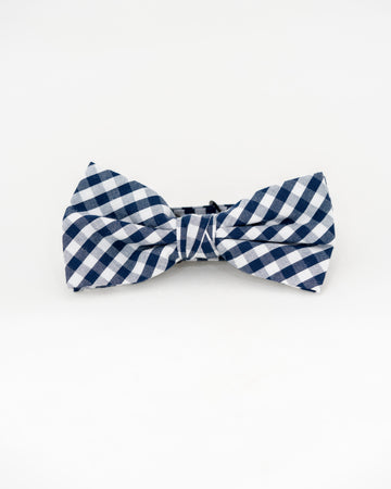 TEDDY Gingham Bow Tie - Navy