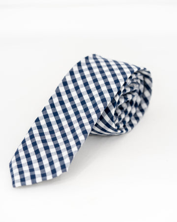 TEDDY Gingham Tie - Navy