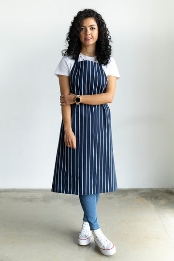 Butcher's Striped Bib Apron Without Pocket