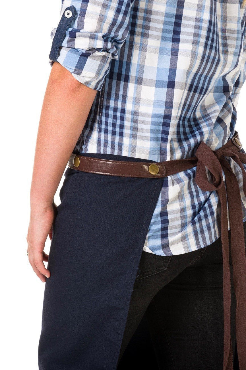 ARCHER Waist Apron with PU Leather studded strap - NAVY