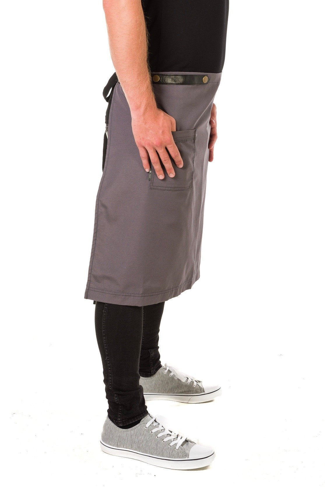 UBD ARCHER Waist Apron with PU Leather studded strap - STEEL