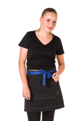 UBD Denim Waist Apron with coloured straps MELBOURNE - BLACK