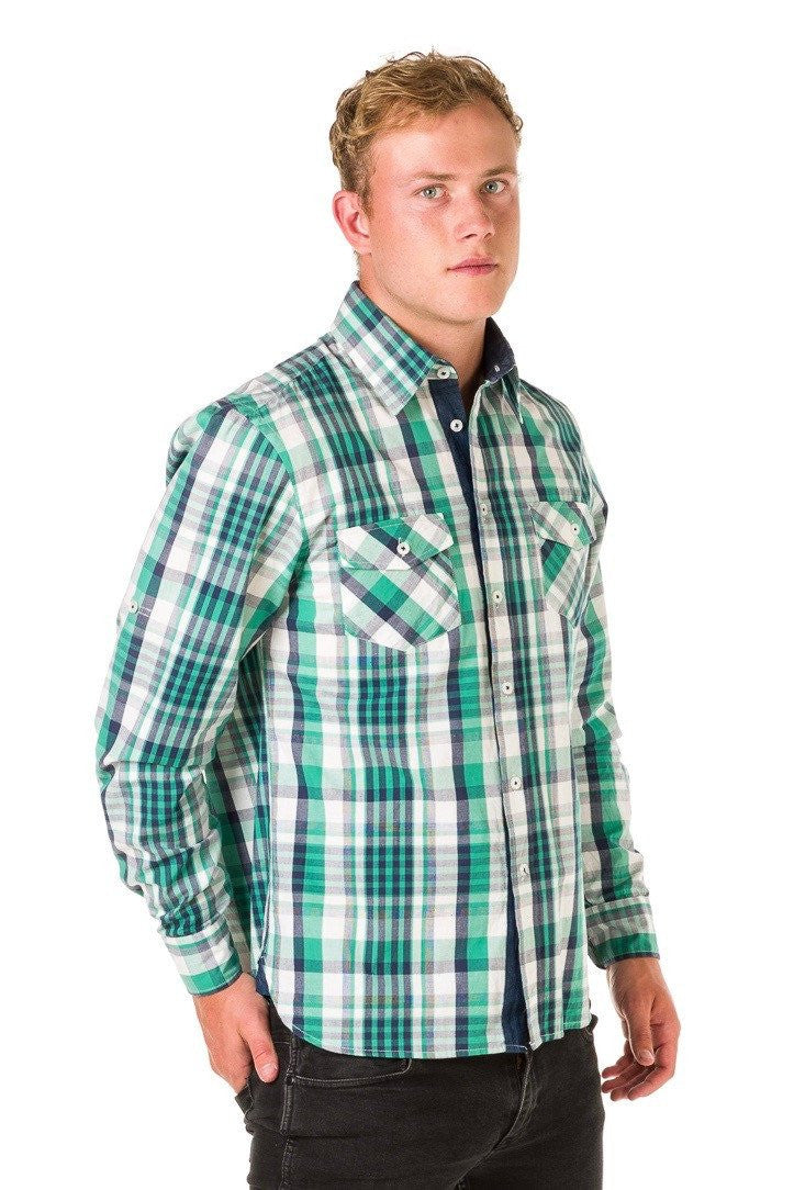 UBD Denim Trim Check Shirt HARVEY - GREEN