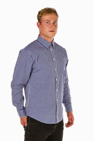 UBD Denim Trim Check SH/ SLV Shirt HARVEY - BLUE