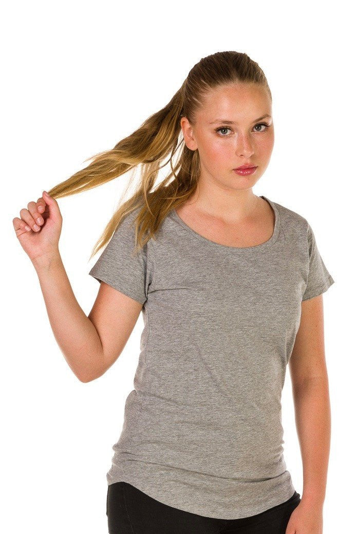 UBD Cooper Scoop Neck T-Shirt Ladies - Grey Marle