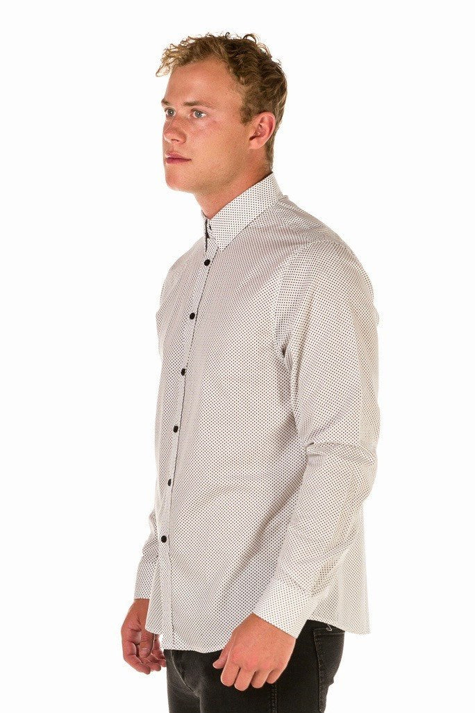HARRISON Men's Spot Shirt - Short/Long Sleeve - White
