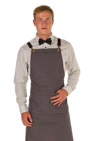 ATLANTA Metal Hook PU LEATHER Black Strap Apron