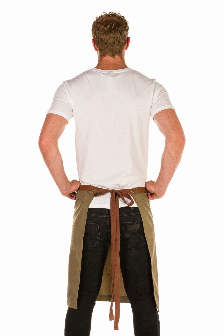 UBD ARCHER Waist Apron with PU Leather studded strap - CARAMEL