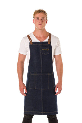 UBD Denim 2 Pocket BERMUDA Apron with PU Leather Straps - Indigo/Tan
