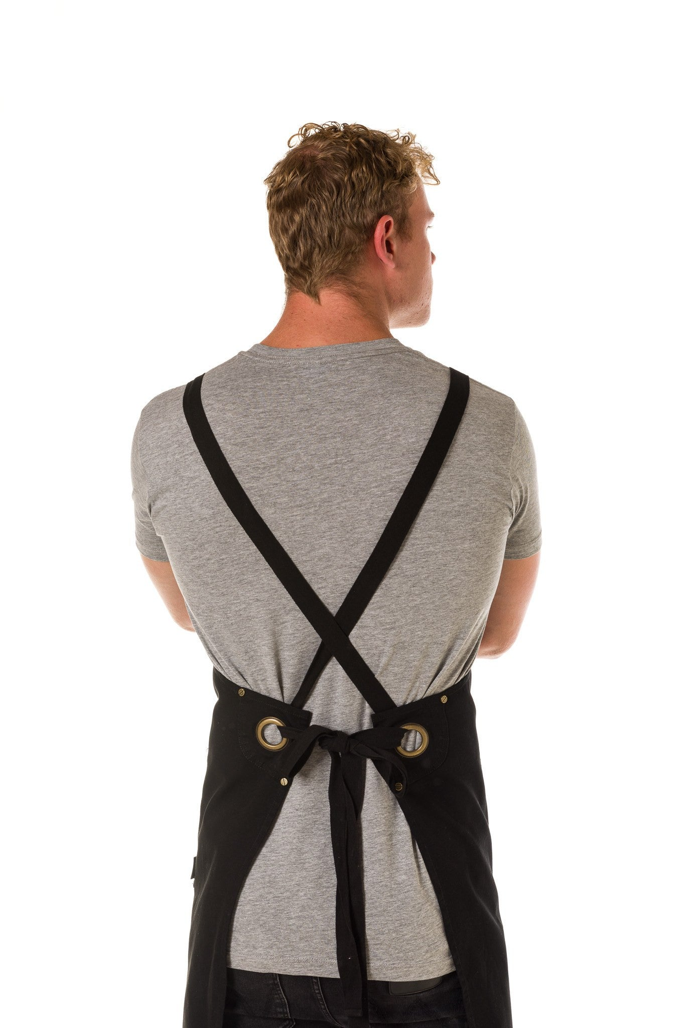 ARCHIE Apron with textured tape straps and 2 pkts - BLACK
