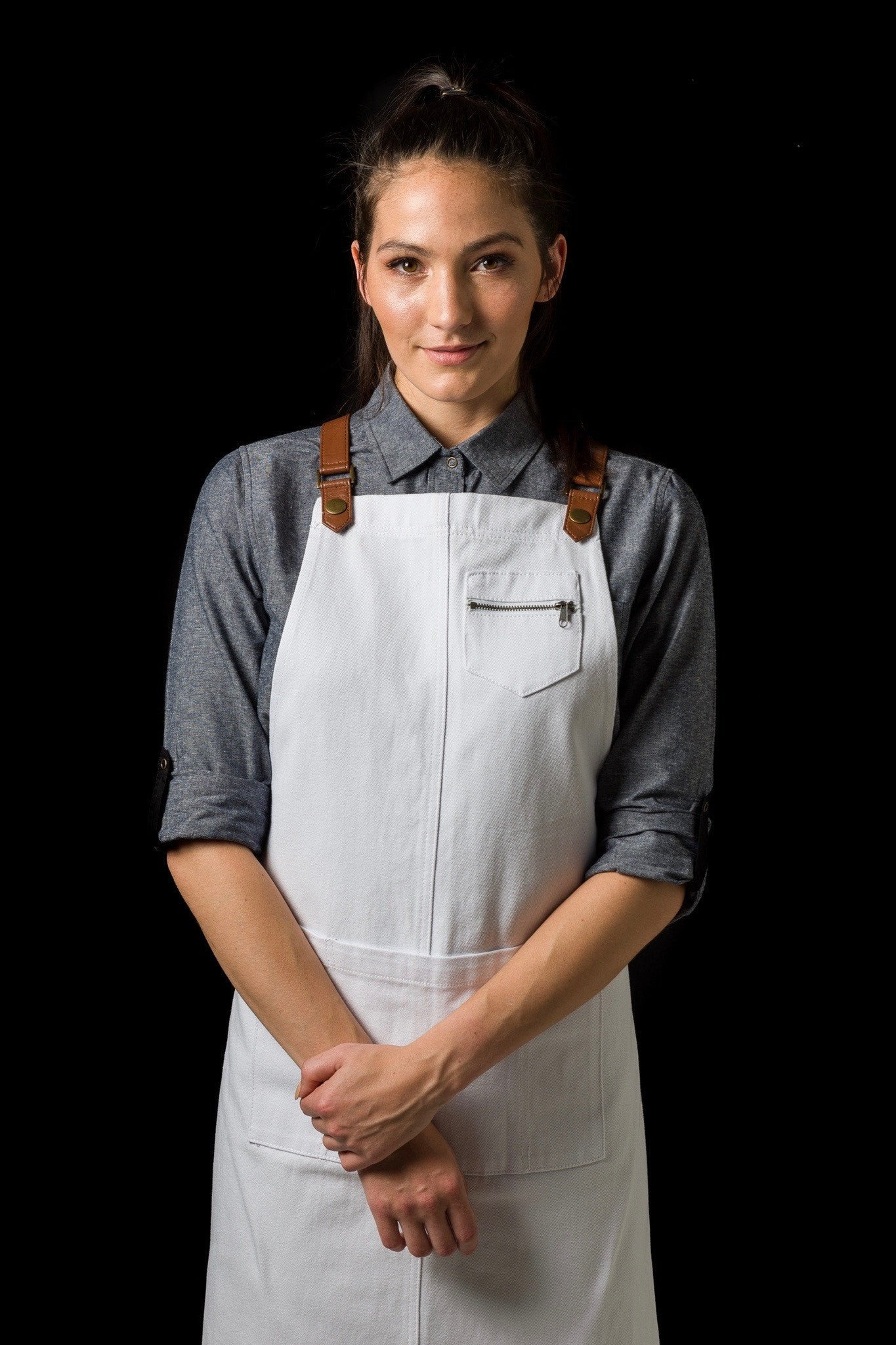 BERMUDA 2 PKT Apron with PU Leather Straps - WHITE/ Tan straps
