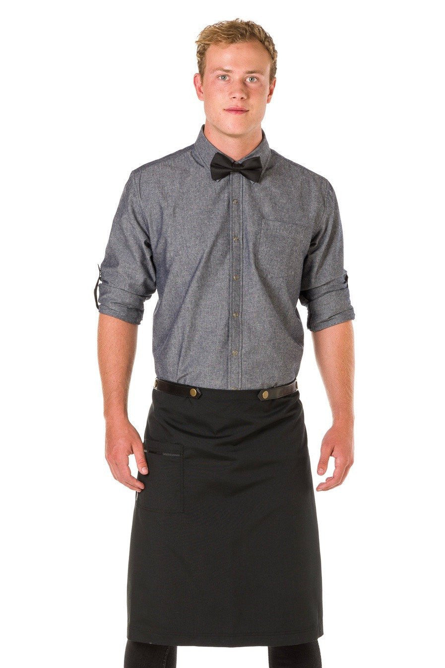 ARCHER Waist Apron with PU Leather studded strap - BLACK