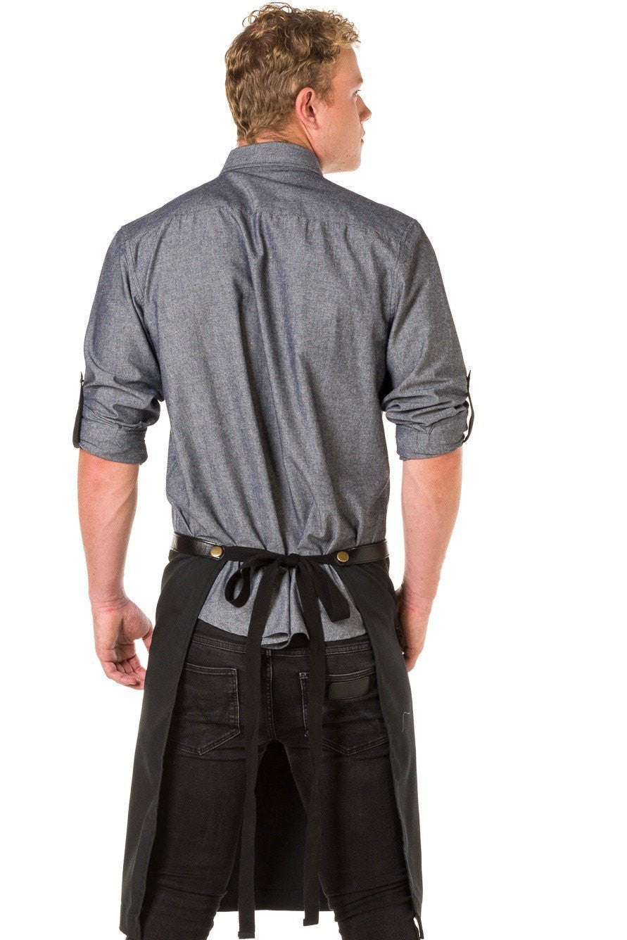 UBD ARCHER Waist Apron with PU Leather studded strap - BLACK