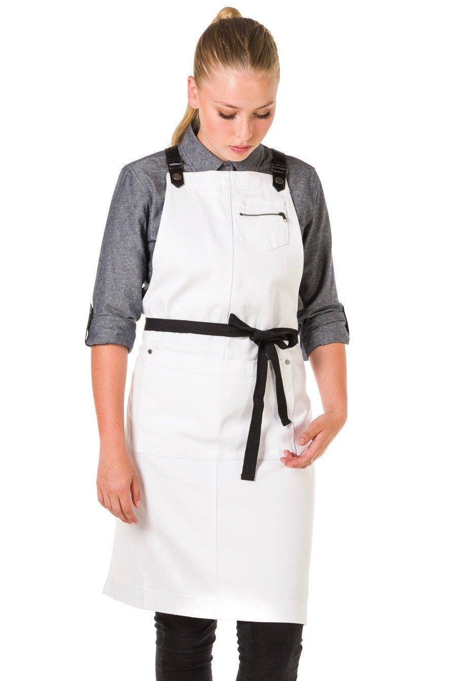 BERMUDA 2 PKT Apron with PU Leather Straps - WHITE/ Black straps
