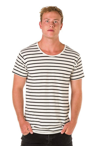 UBD Walter Stripe T-Shirt Mens - Black/Natural