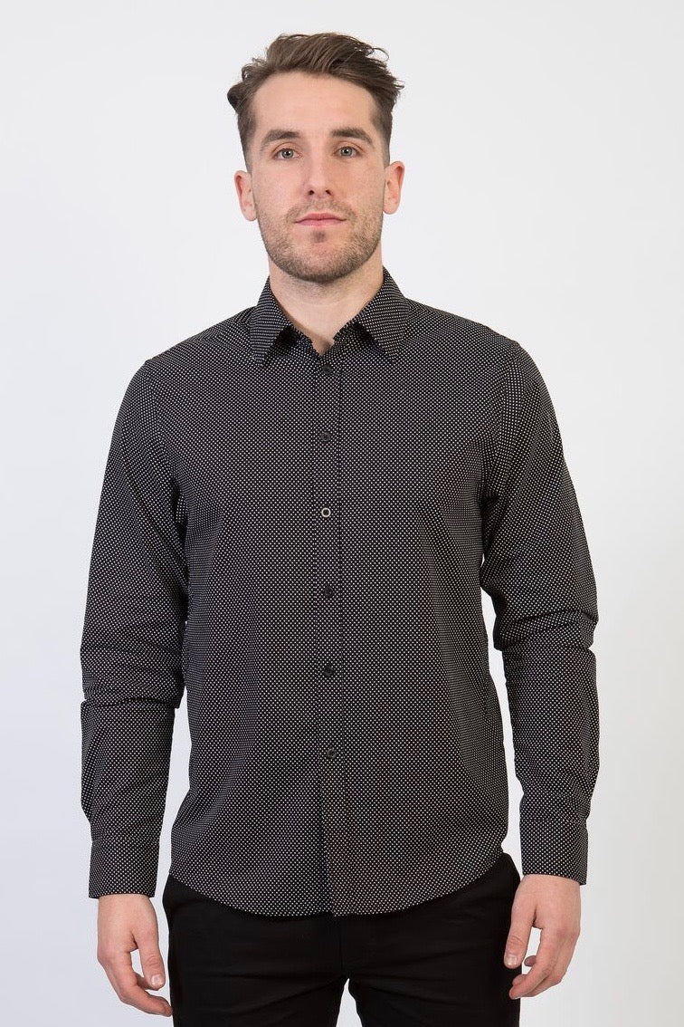 HARRISON Men's Spot Shirt - Short/Long Sleeve - Black