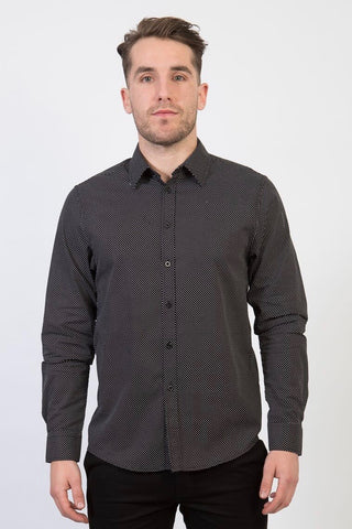 CHARLIE Long Sleeve shirt with Black tab and metal snaps - SLATE (M)