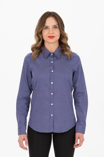 HARRISON Ladies Spot Shirt - Long Sleeve - Blue
