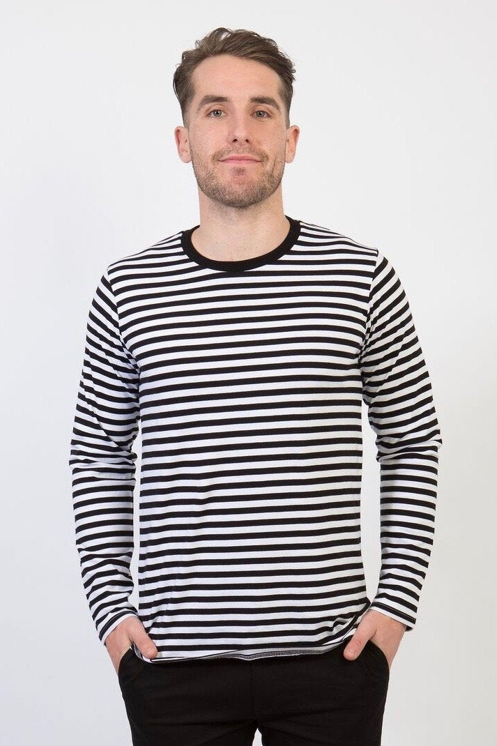 UBD SPENCER Stripe Long Sleeve Crew T-Shirt - UNISEX - Black/ White - Customized
