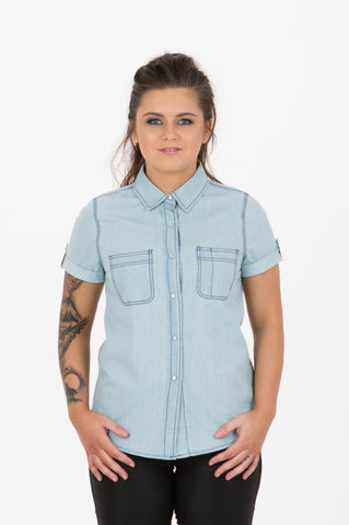 UBD Essential Gingham SH/ SLV Shirt TEDDY - Cobalt