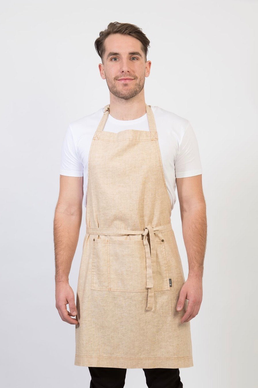 CLEMENTINE BIB Apron with metal trims - Natural Linen