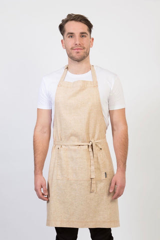 ARCHIE Apron with textured tape straps and 2 pkts - KHAKI