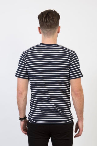 UBD PARKER Stripe T-Shirt Crew neck -UNISEX - Navy/ White