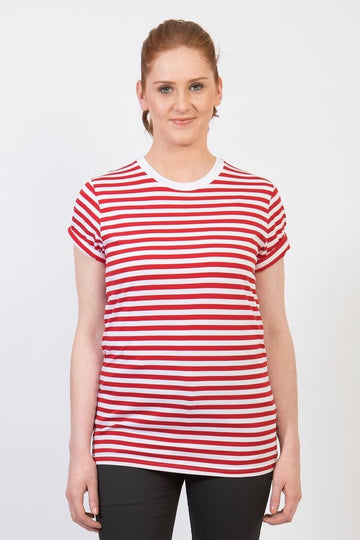 UBD PARKER Stripe T-Shirt Crew neck -UNISEX - Red/ White