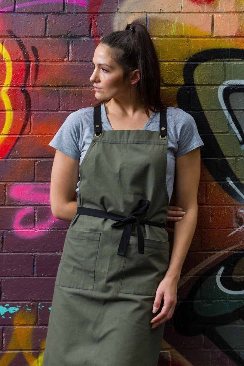 PRE ORDER ARCHIE Apron with textured tape straps - Khaki Canvas