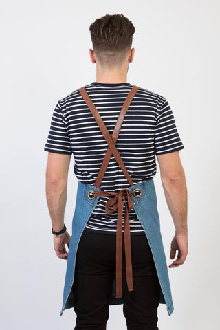 UBD Denim 2 Pocket BERMUDA Apron with PU Leather Straps - Vintage Blue/Tan Strap