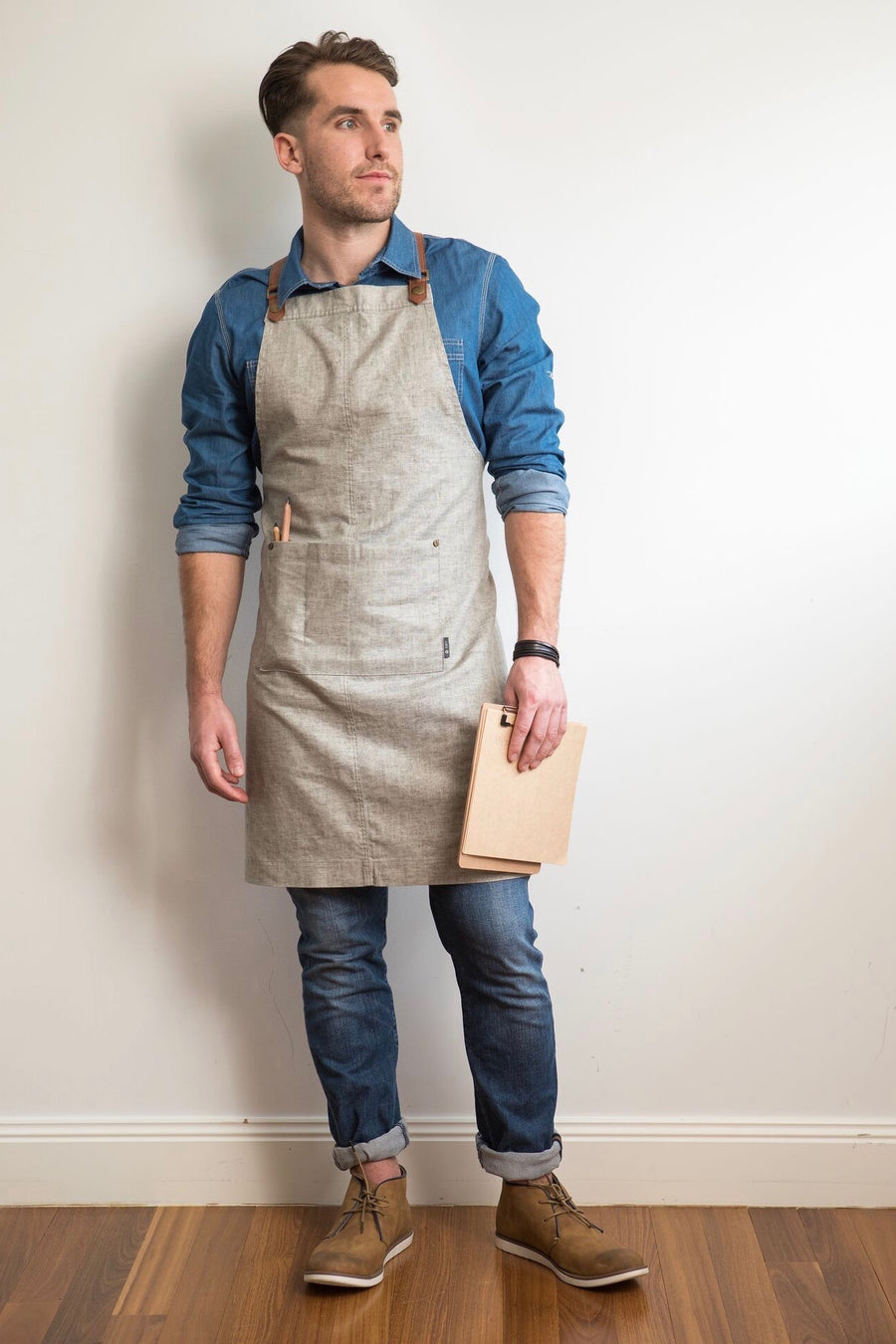 THEODORE Apron with PU Leather Strap - Taupe Linen