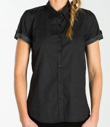 HARRISON Ladies Spot Shirt - Short/Long Sleeve - Black