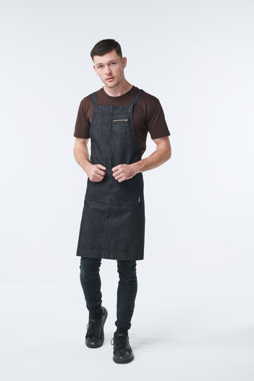 HAMPTON Denim 2 Pocket Apron - BLACK