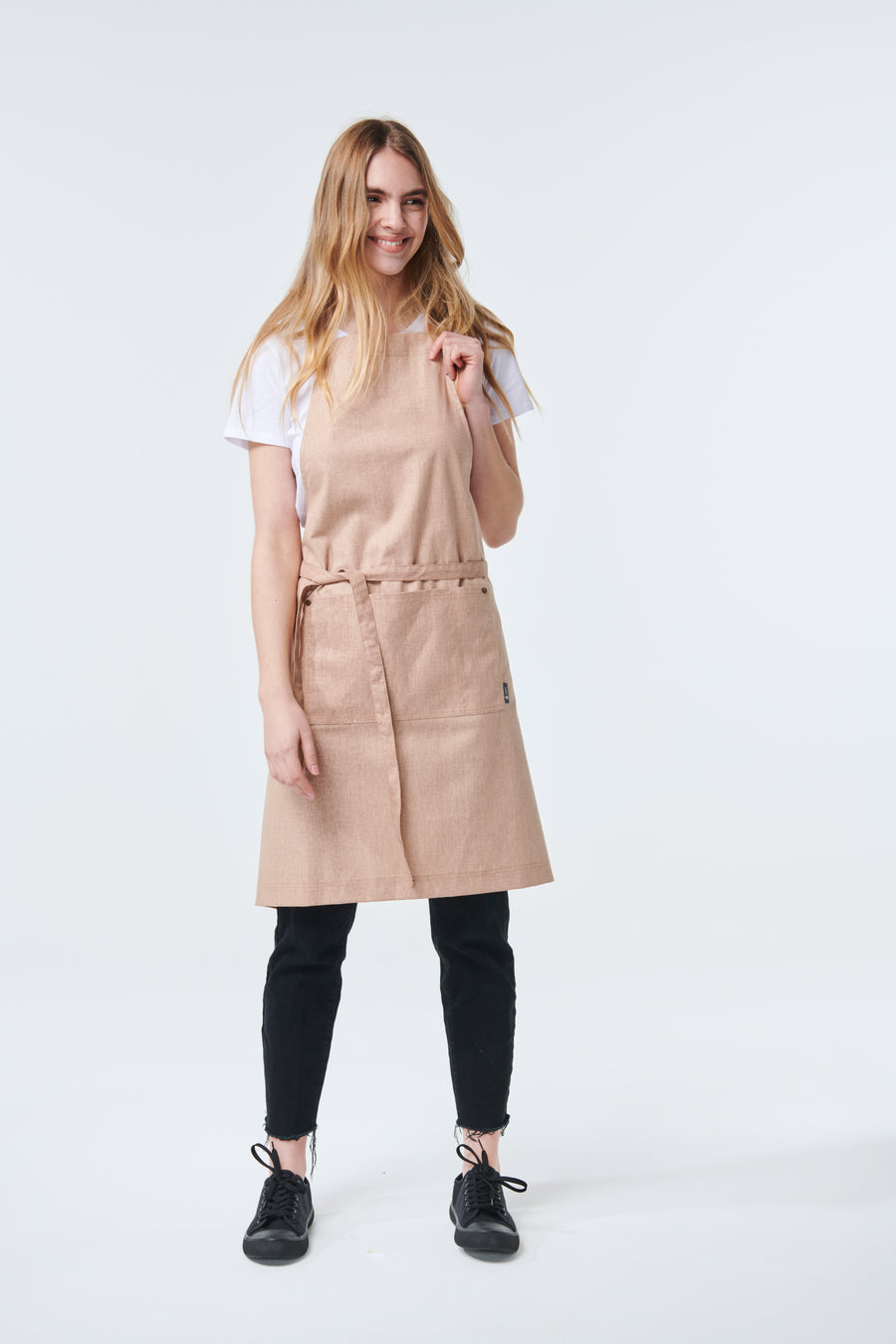 CLEMENTINE BIB Apron with metal trims -  NEW COLOUR 'Tobacco'