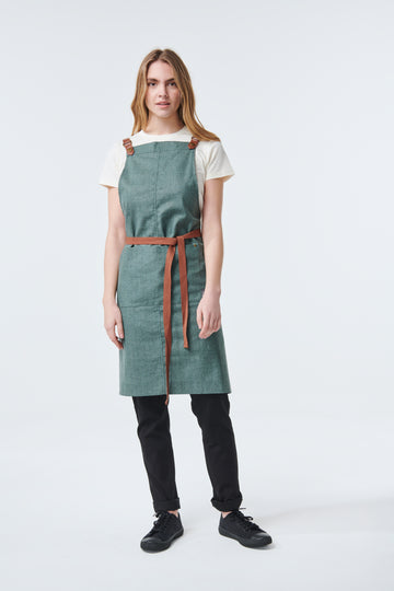 THEODORE Apron with PU Leather Strap - NEW COLOUR Forest