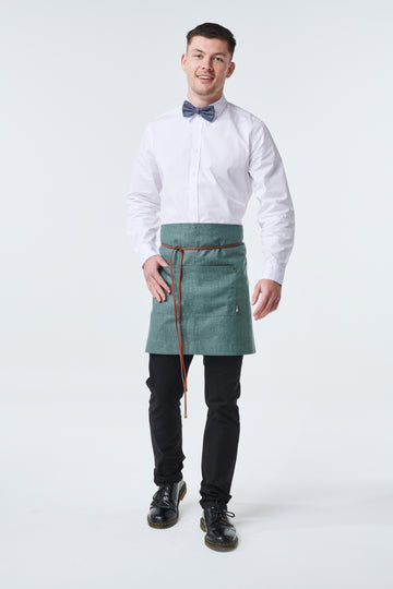 GATSBY Linen Waist Apron with PU leather strap - New Colour 'Forest'