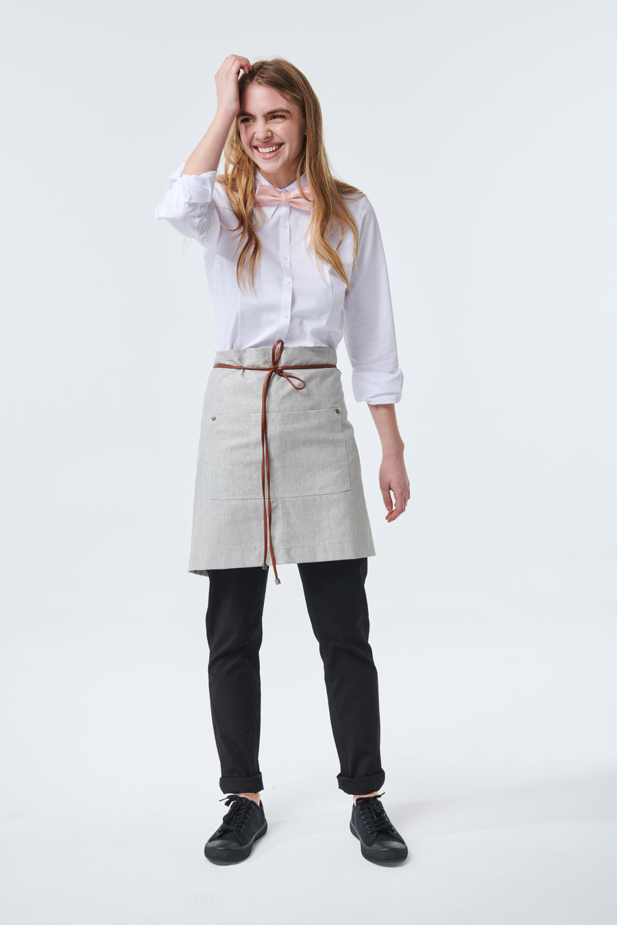 GATSBY Linen Waist Apron with PU leather strap - New Colour 'Cloud'