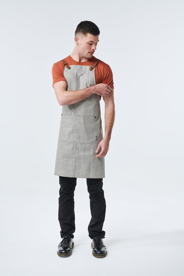 THEODORE Apron with PU Leather Strap - Light Charcoal
