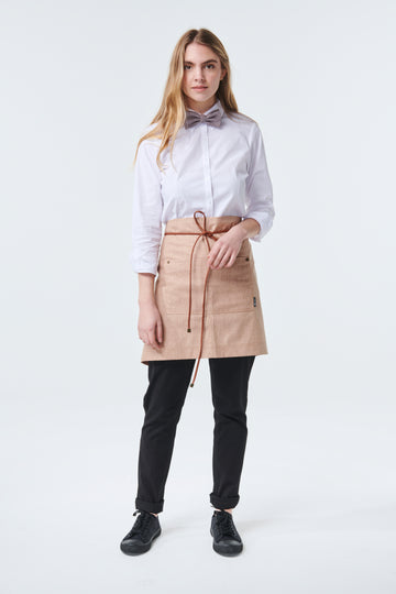 GATSBY Linen Waist Apron with PU leather strap - New Colour 'Tobacco'