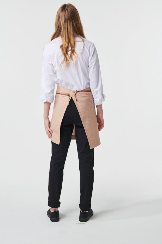 GATSBY Linen Waist Apron with PU leather strap - Tobacco