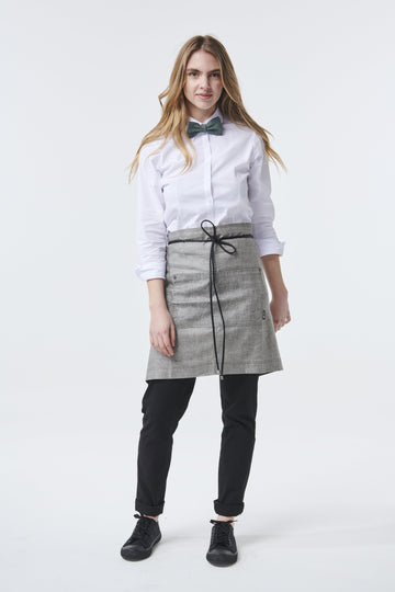 GATSBY Linen Waist Apron with PU leather strap - Charcoal - Customized