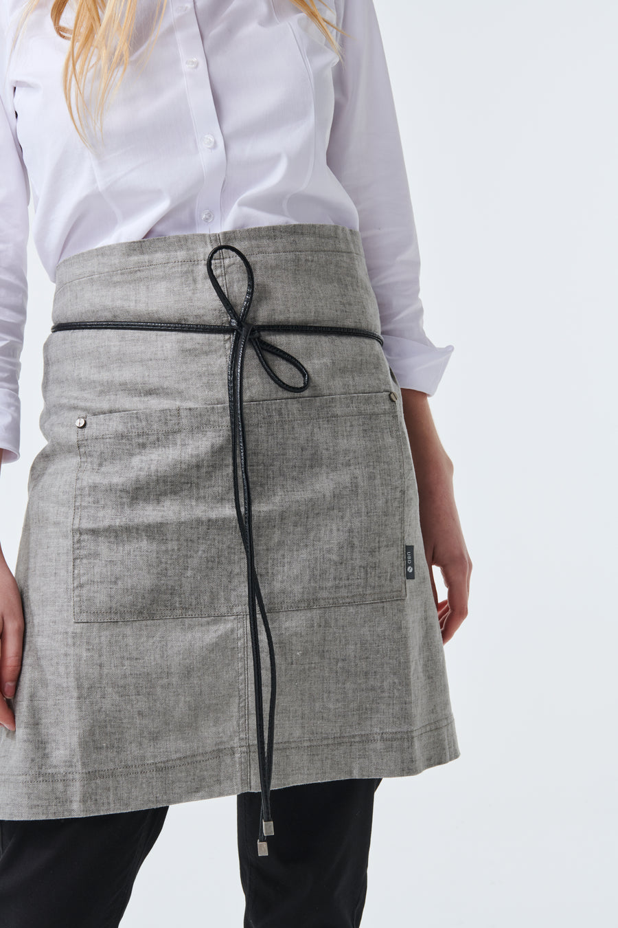 PRE ORDER GATSBY Linen Waist Apron with PU leather strap - Charcoal
