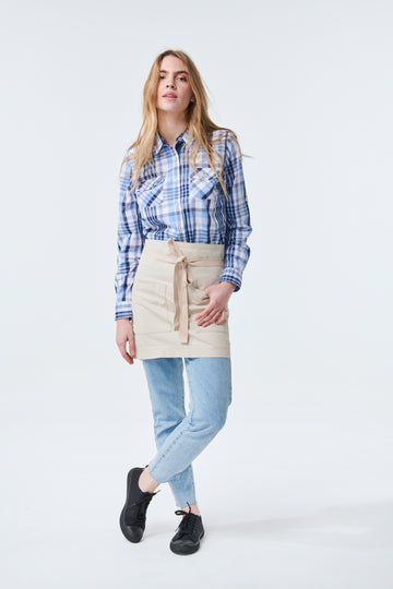 ARCHIE waist Apron with textured tape straps - Stone Canvas